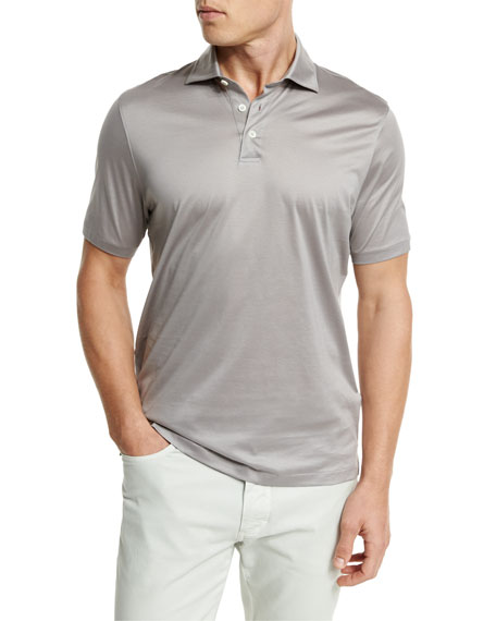Ermenegildo Zegna Mercerized Cotton Polo Shirt, Light Gray