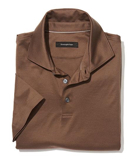 Ermenegildo zegna mercerized cotton polo shirt light brown for Light brown polo shirt