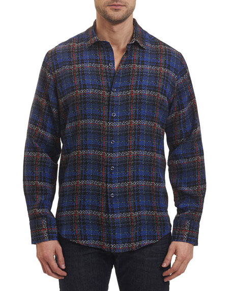 Robert Graham Concordia Plaid Jacquard Sport Shirt, Black