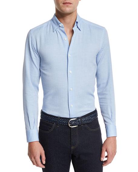 Ermenegildo Zegna Flannel Long-Sleeve Sport Shirt, Blue