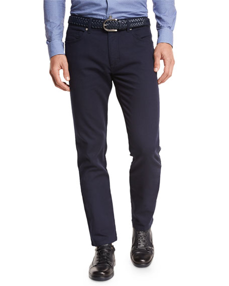Slim-Fit Straight-Leg Jeans, Navy
