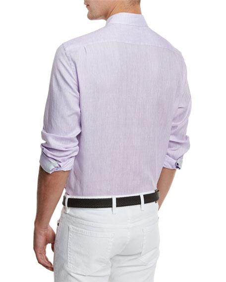 Linen Woven Sport Shirt, Lilac