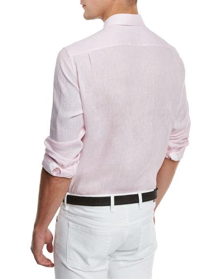 Linen Woven Sport Shirt, Light Pink