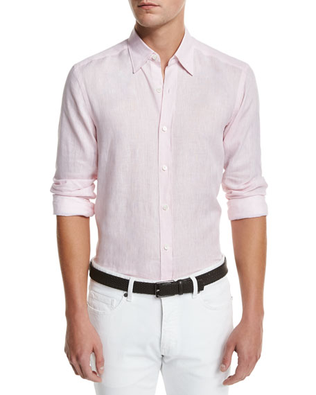 Linen Woven Sport Shirt, Light Pink