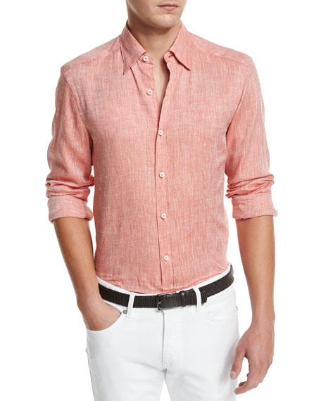Ermenegildo Zegna Linen Woven Sport Shirt, Orange