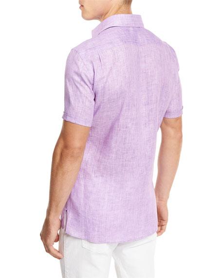 Over-Dyed Linen Short-Sleeve Sport Shirt, Purple