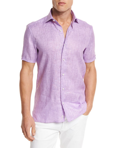 Over-Dyed Linen Short-Sleeve Sport Shirt, Purple