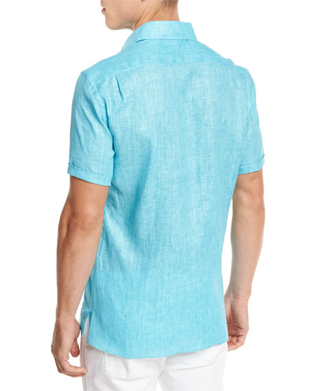 Over-Dyed Linen Short-Sleeve Sport Shirt, Aqua