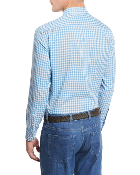 Small-Plaid Cotton-Linen Sport Shirt, Bright Blue