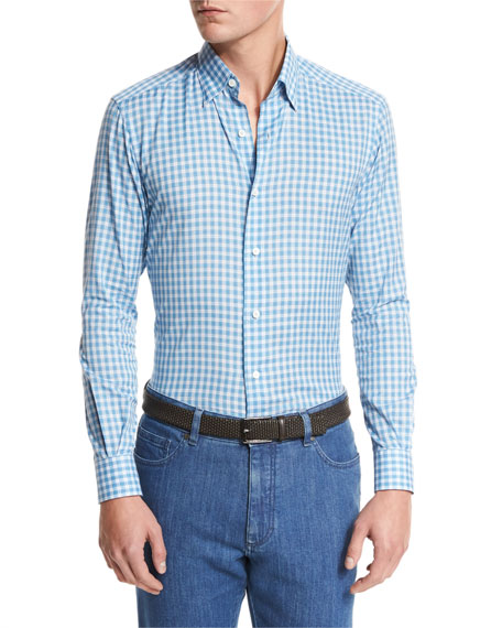 Ermenegildo Zegna Small-Plaid Cotton-Linen Sport Shirt, Bright