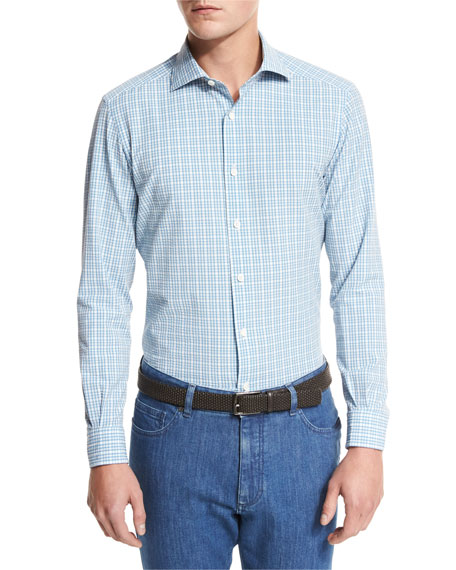 Ermenegildo Zegna Plaid Seersucker Sport Shirt, Bright Blue
