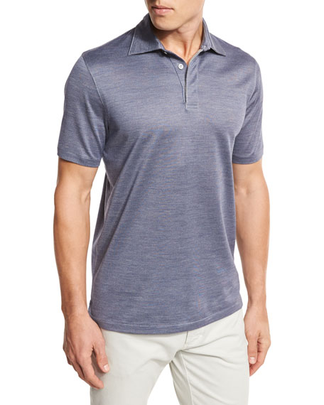 Micro-Birdseye Polo Shirt, Navy