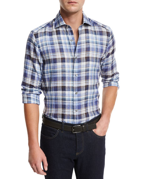 Plaid Linen Sport Shirt, Medium Blue Check