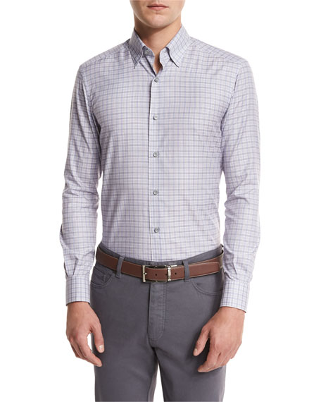 Ermenegildo Zegna Check Woven Sport Shirt, Light Purple
