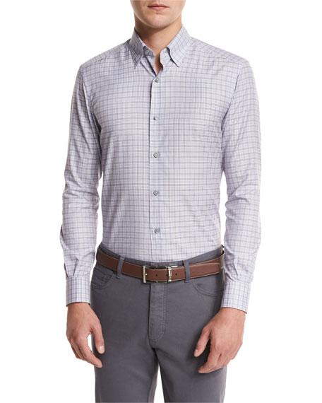 Ermenegildo Zegna Check Woven Sport Shirt, Light Purple