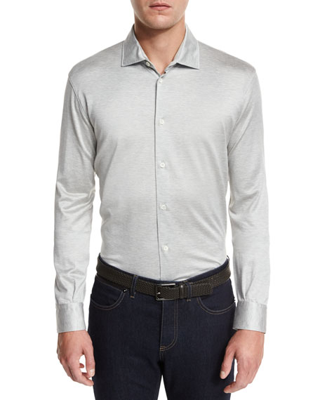 Ermenegildo Zegna Long-Sleeve Button-Down Polo Shirt, Gray