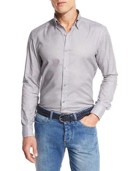 Ermenegildo Zegna Fan-Print Sport Shirt, Medium Gray Fan