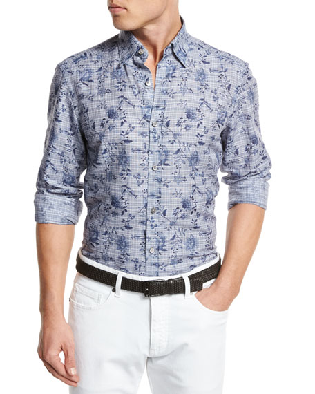 Floral Check Linen-Cotton Sport Shirt, Navy
