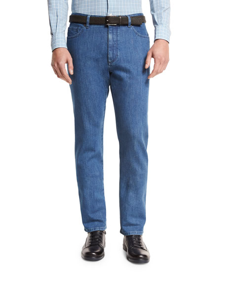 Ermenegildo Zegna Japanese Denim Straight-Leg Jeans, Medium Blue
