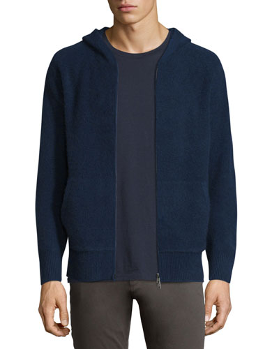 Boiled Cashmere Zip-Up Hoodie
