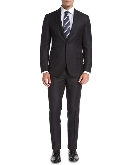 Solid Textured Wool Two-Piece Suit, Charcoal