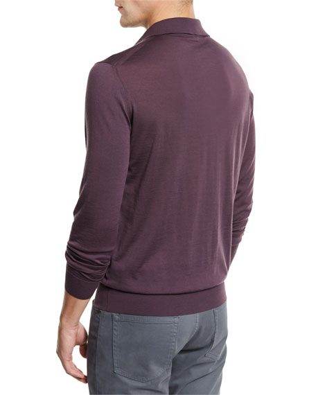 Merino Wool Polo Sweater, Medium Purple