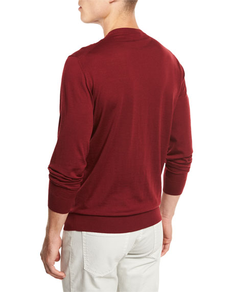 High-Performance Merino Wool Crewneck Sweater, Medium Red