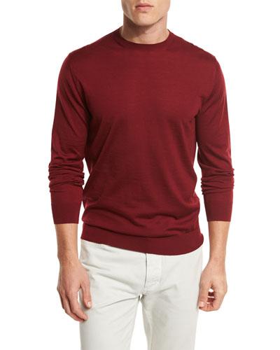 Ermenegildo Zegna High-Performance Merino Wool Crewneck Sweater, Medium Red