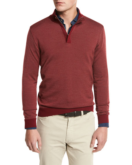 High-Performance Merino Wool Quarter-Zip Pullover, Medium Red Fan
