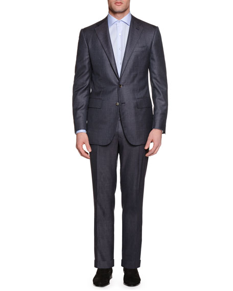 Tonal-Stripe Two-Piece Cashmere-Blend Suit, Gray