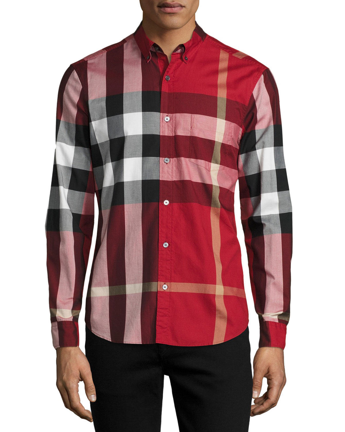 3eaf26d27 Burberry Fred Check Woven Sport Shirt, Parade Red | Neiman Marcus