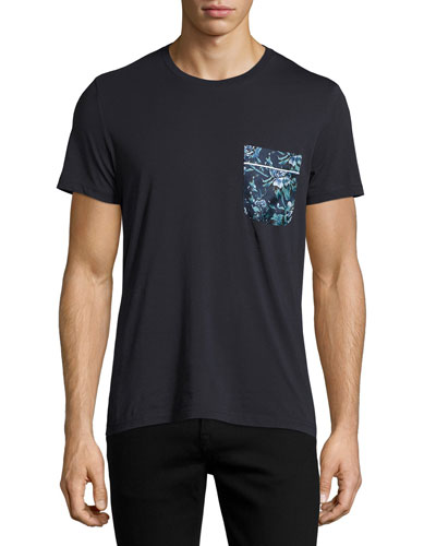 Floral-Print Pocket T-Shirt, Navy