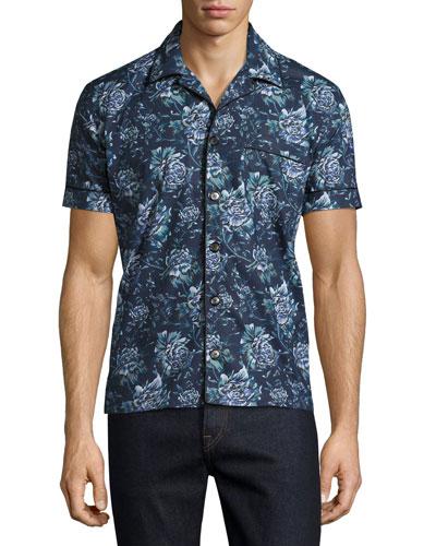 Peony Short-Sleeve Pajama-Style Shirt, Blue