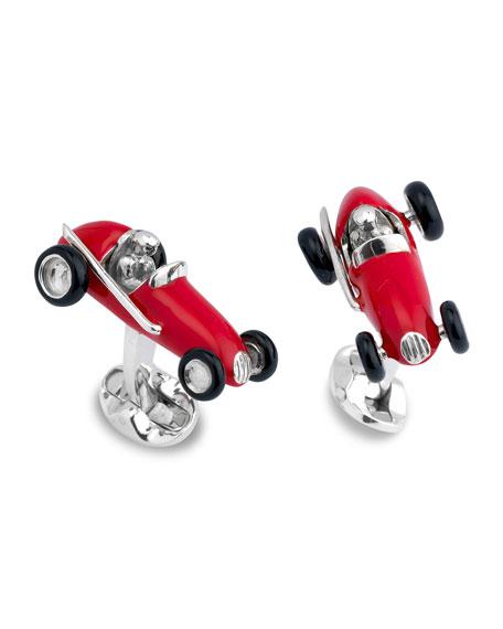 Red Race Car Cuff Links