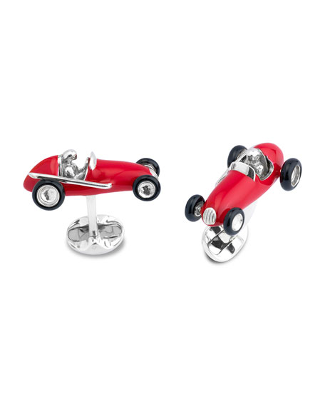 Red Race Car Cuff Links