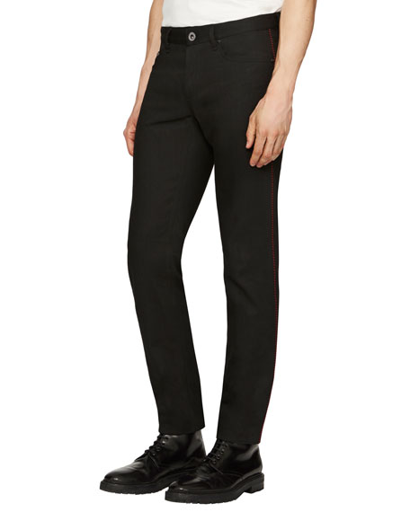 Regimental Skinny Jeans w/Contrast Piping, Black