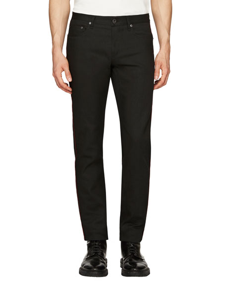 Burberry Regimental Skinny Jeans w/Contrast Piping, Black