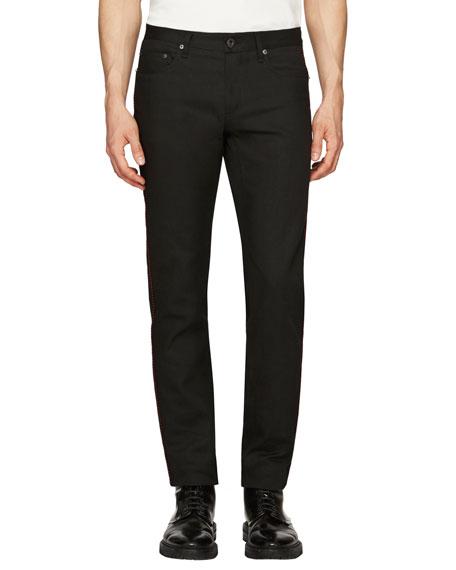 Burberry Regimental Skinny Jeans w/Contrast Piping, Black