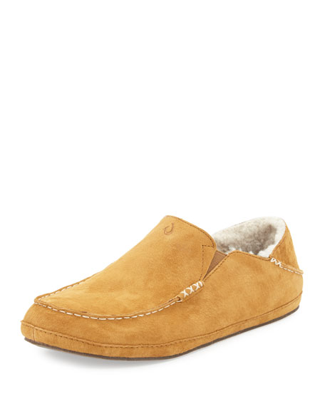 OLUKAI Moloa Shearling-Lined Slipper, Tan in Tobacco/ Tobacco