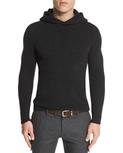 Brushed Cashmere Hoodie, Charcoal