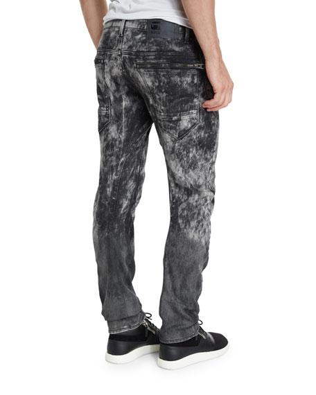 Arc 3D Bleach-Effect Slim-Fit Stretch-Denim Jeans, Black