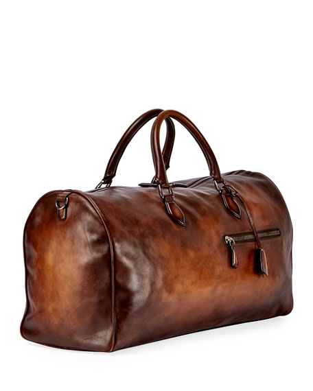 Jour-Off GM Large Leather Duffel Bag, Brown