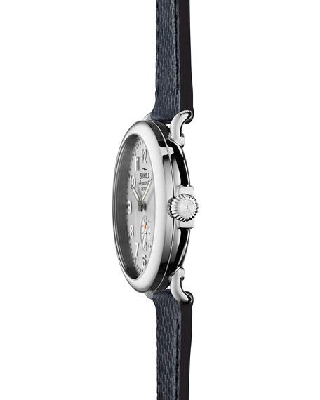 Men's 41mm Runwell Men's Textured Leather Watch, Silver/Navy