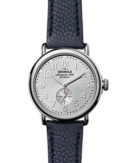 Shinola 41mm Runwell Men's Textured Leather Watch, Silver/Navy