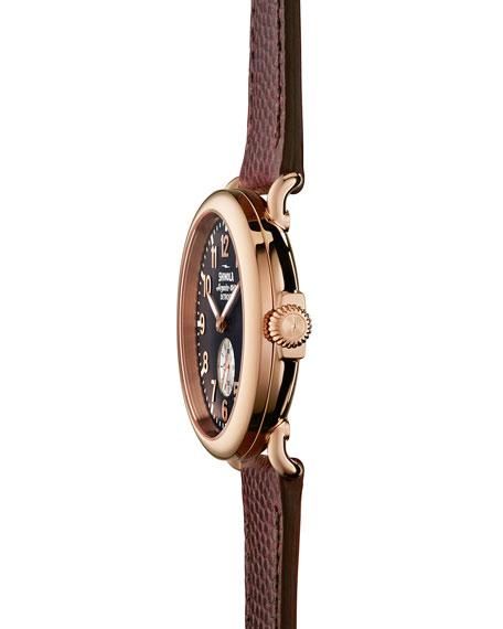41mm Runwell Men's Textured Leather Watch, Rose Golden/Oxblood