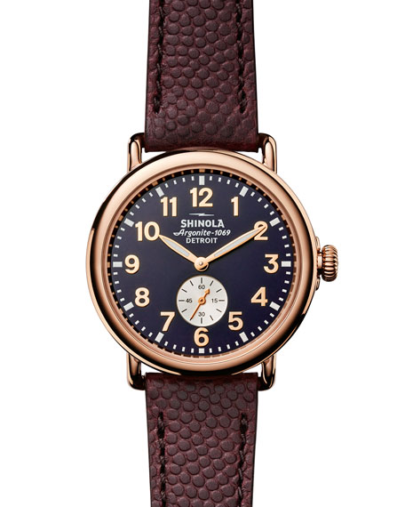 Shinola 41mm Runwell Men's Textured Leather Watch, Rose