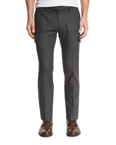 Flannel Cargo Pants, Charcoal