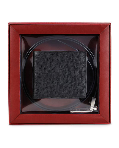 Wallet & Reversible Belt Gift Set, Chocolate