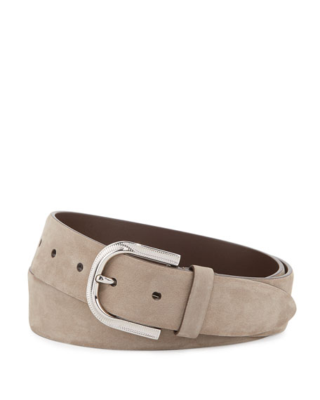 Brunello Cucinelli Calf Suede Buckle Belt, Taupe