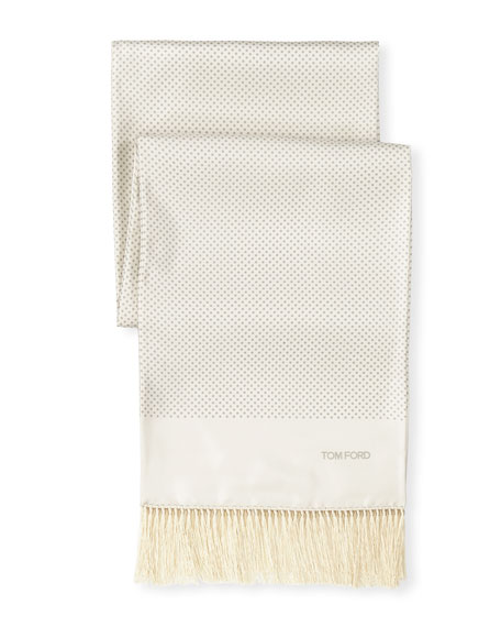 TOM FORD PRINTED DOT SILK EVENING SCARF, WHITE